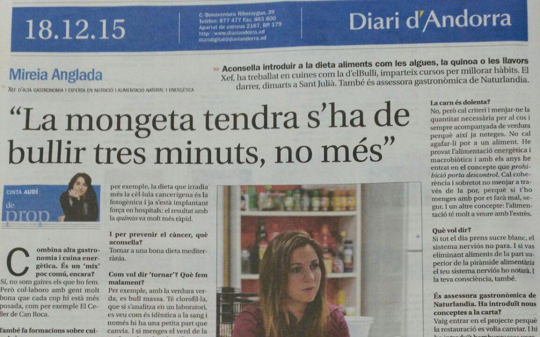 Mireia Anglada nos da consejos gastronómicos a la entrevista del diario Andorra