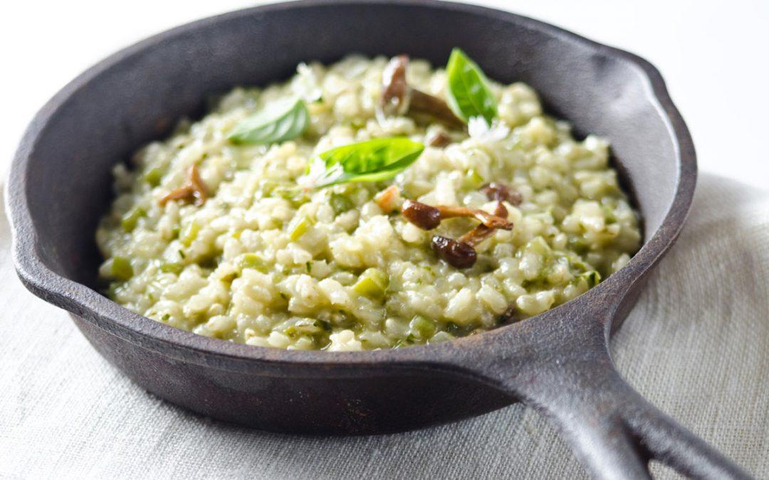 Arroz integral verde en risotto