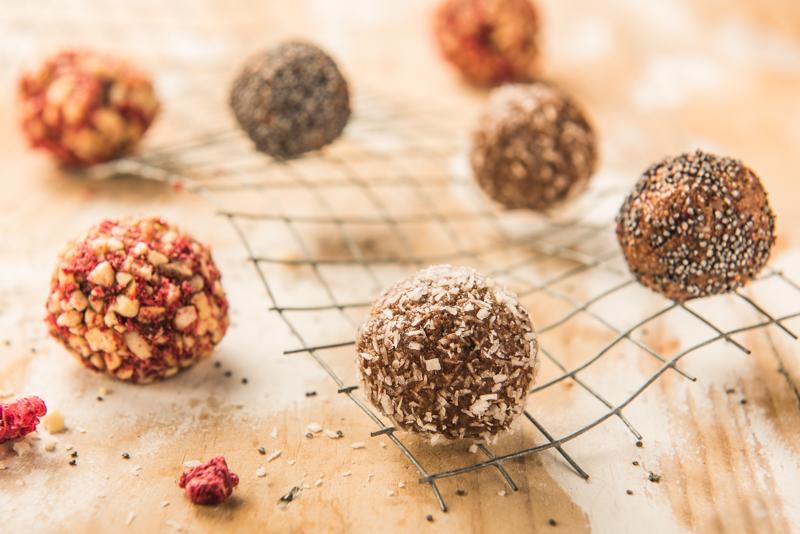 Bombones de lino y frutos secos